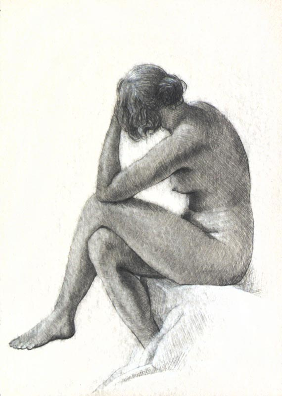 Female Nude #13, Pencil and White Charcoal on Paper. 21cm by 15cm. (2013)