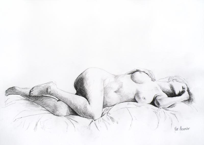 Female Nude #4, Charcoal on Paper, 42cm by 60cm, (2013)