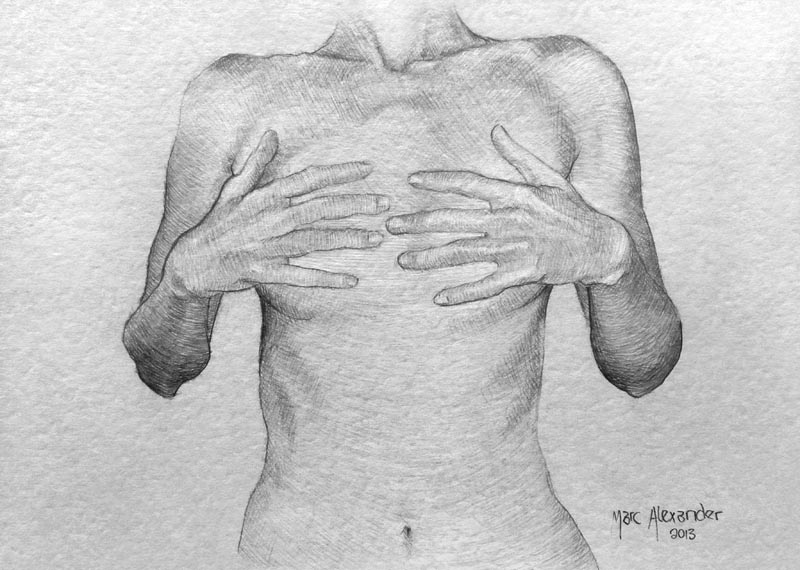 Female Nude #9, Charcoal on Paper. 10cm by 14cm. (2013)