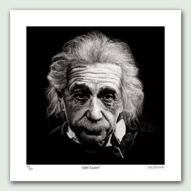 Albert Einstein Paper Print - Limited edition artist paper prints by South African artist Marc Alexander as part of his 'Legacy' Series. Original painted in oils
