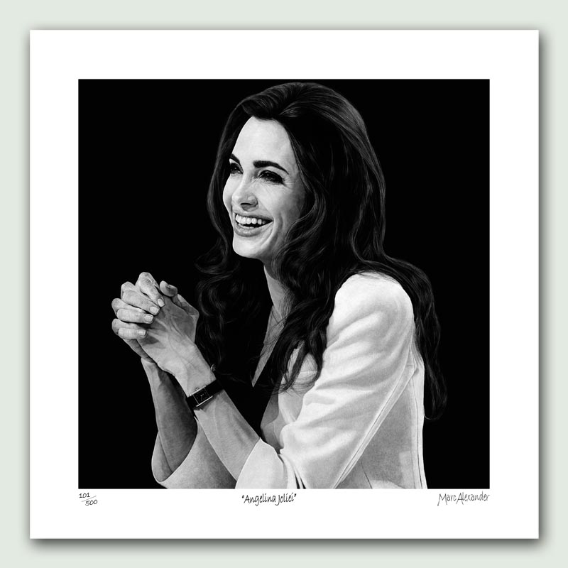 Angelina Jolie Paper Print - Limited edition artist paper prints by South African artist Marc Alexander as part of his 'Legacy' Series. Original painted in oils