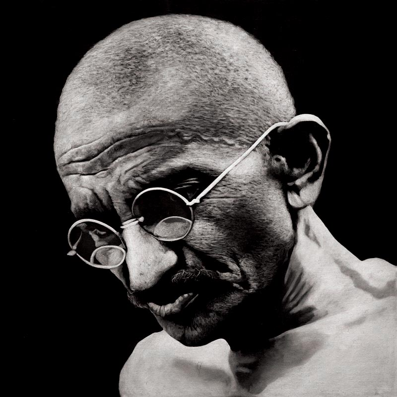 """Gandhi II is a portrait originally painted in oils as part of the """"Legacy"""" series painted by South African Artist Marc Alexander"""