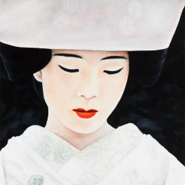Japanese Bride is a painting in oil on canvas, 152cm by 50cm, by South African artist Marc Alexander. This is a close up of the painting showing the detail in the traditional Japanese bridal wear, 'Shiromuku'.