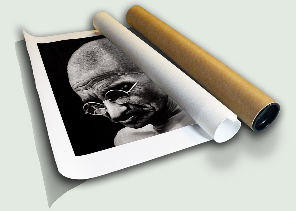 "Mahatma Gandhi II Rolled Canvas, limited edition print on canvas rolled in a core by South African artist Marc Alexander as part of his ""Legacy"" series."