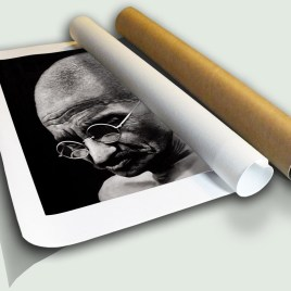 """Mahatma Gandhi II Rolled Canvas, limited edition print on canvas rolled in a core by South African artist Marc Alexander as part of his """"Legacy"""" series."""