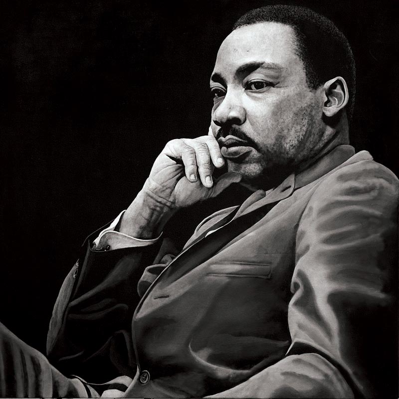 """Martin Luther King Jr is a portrait originally painted in oils as part of the """"Legacy"""" series painted by South African Artist Marc Alexander"""