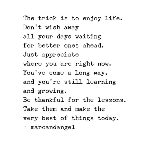 The trick is to enjoy life. Don't wish away all your days waiting for better ones ahead. Just appreciate where you are right now. You've come a long way, and you're still learning and growing. Be thankful for the lessons. Take them and make the very best of things today.