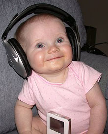 Baby jams to an iPod