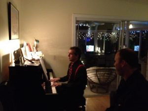 Marc Playing the piano at Jackie's