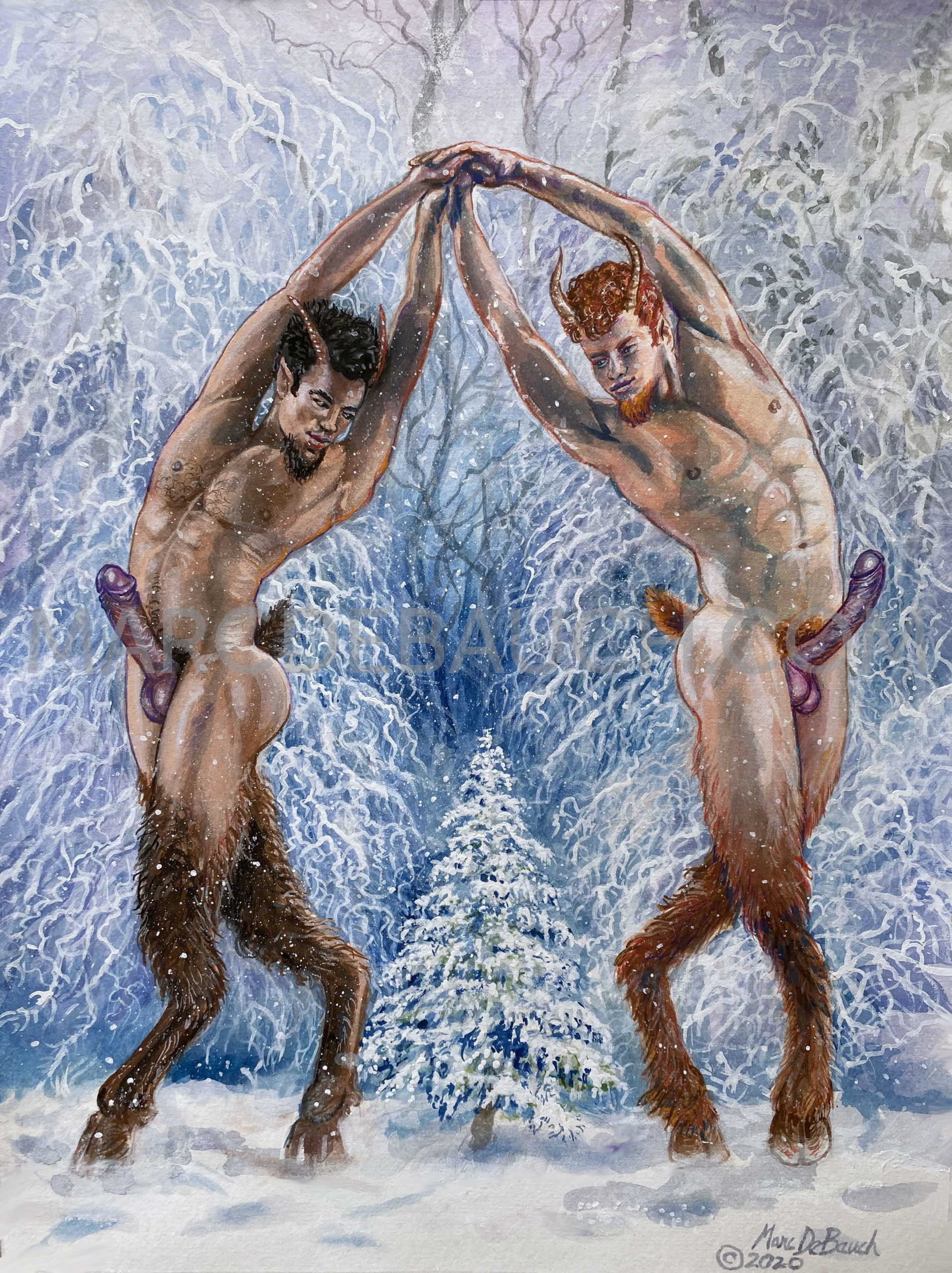 Solstice Satyrs In The Snow web