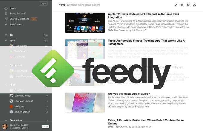news aggregator application Feedly