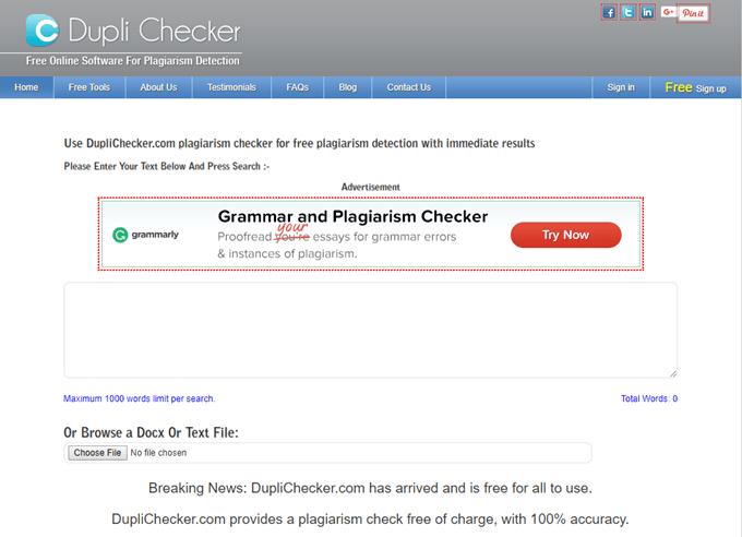 Dupli Checker plagiarism checkers