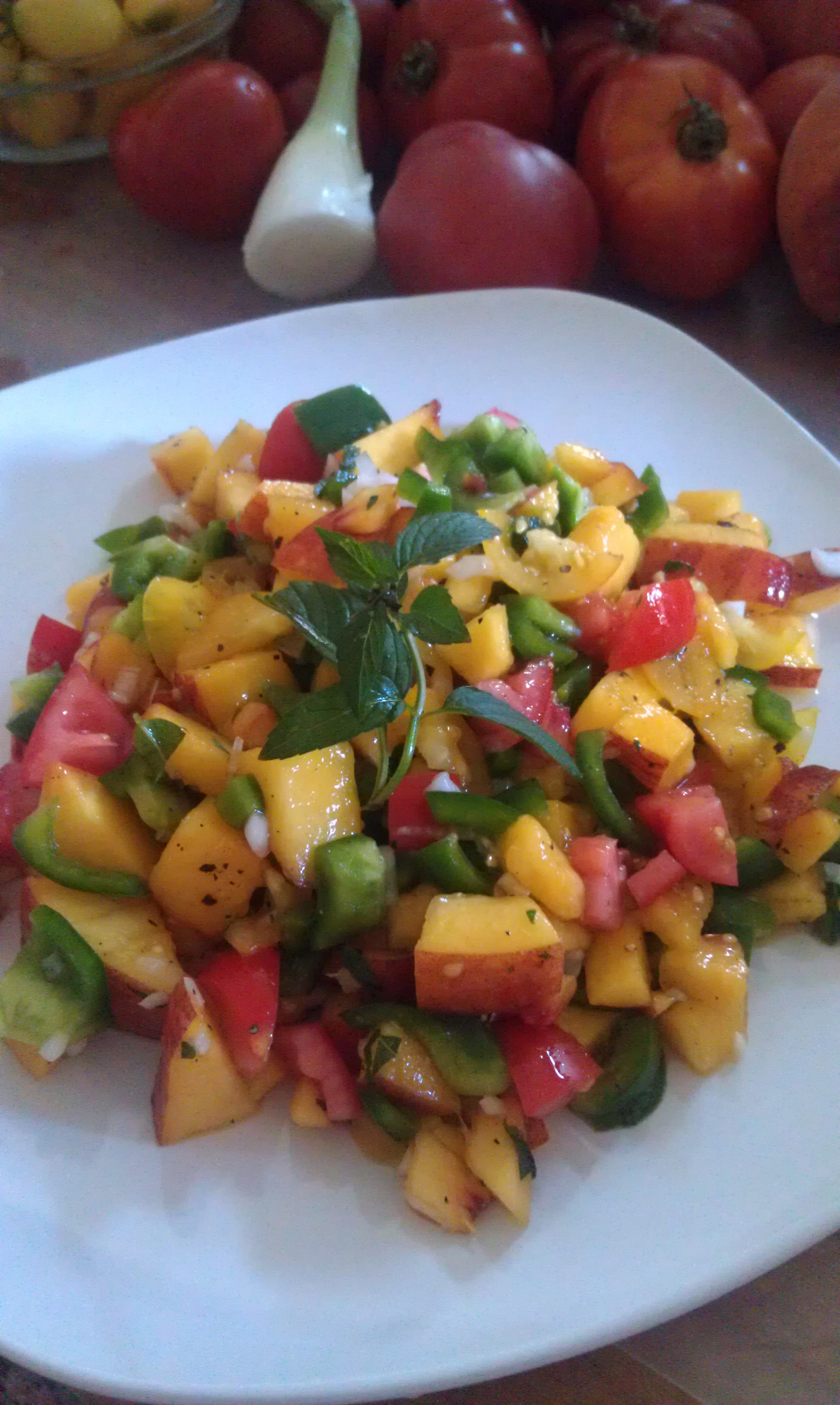 Peach Salsa With Fresh Veggies From The Garden of The Man – Marcella ...