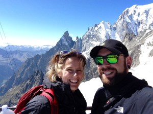 Andy Fitzgerrell with wife near summit of Mont Bianco
