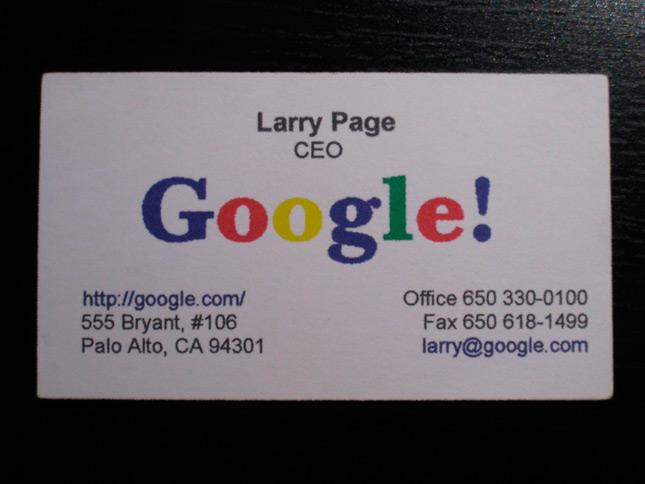 Primer tarjeta de Larry Page de Google, ca 1998