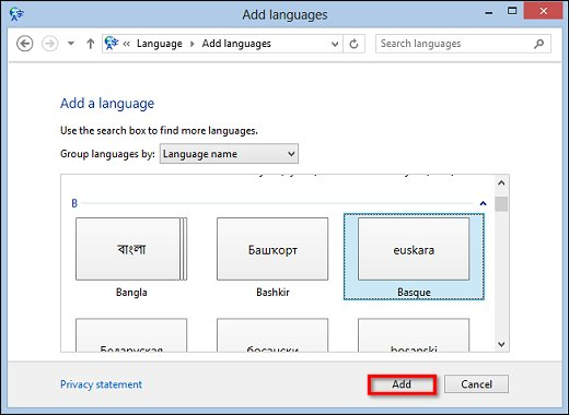 Image of Add languages window with a language that has no regional variants selected and the Add button highlighted