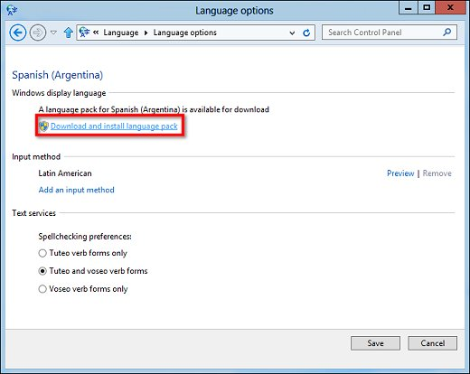 Image of the Language options window listing a language pack available for download