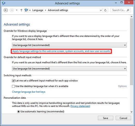Advanced settings window with Apply language settings to the welcome screen, system accounts, and new user accounts selected