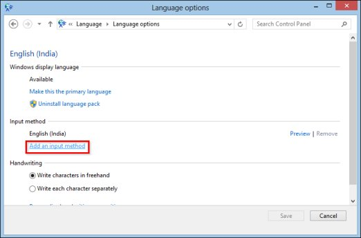 Image of language options window  with Add an input method selected