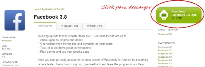 descargar apk facebook 3.8