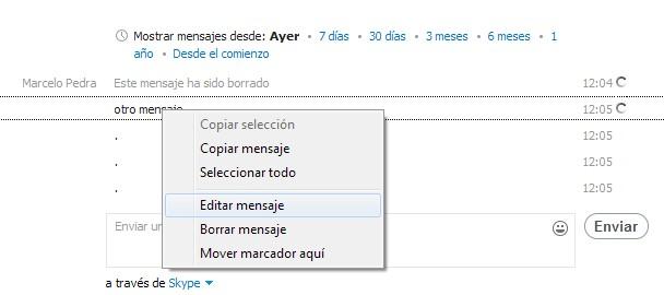 skype editar borrar mensajes