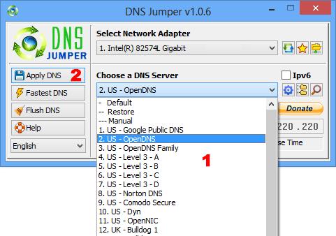 Dns Jumper choose a Dns