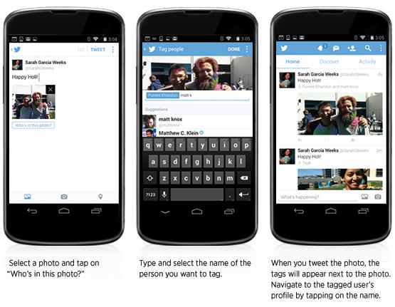 etiquetar fotos twitter