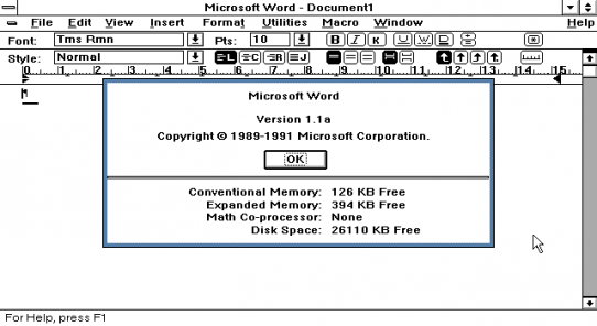 El primer MS Word para Windows.