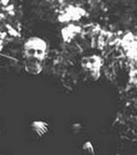 Father Boucher with Brother Marcel on the occasion of his first profession at Hanoi, Sept. 8th.1946