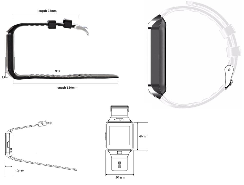 DZ09 SmartWatch Armbanduhr Bluetooth iOS Android Samsung