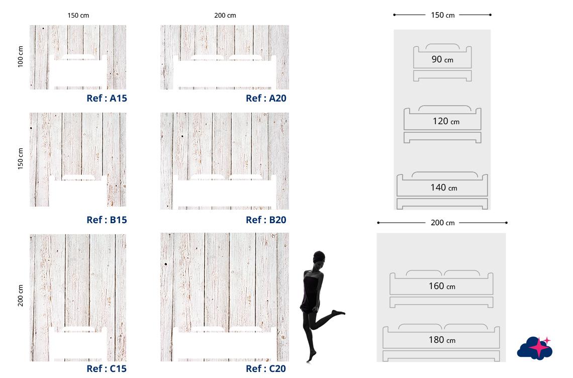 tete de lit bois blanc textilvision