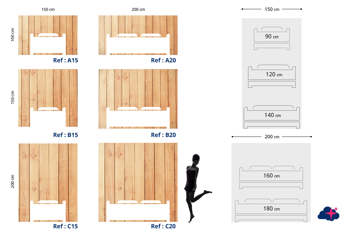 tete de lit bois plan