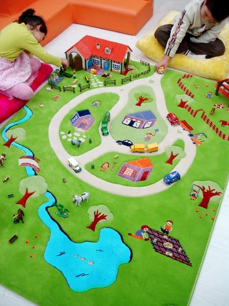 Tapis enfant Ferme Turquoise IVI  Tapis enfant 3D espace de jeu  Slection Marchand de tapis