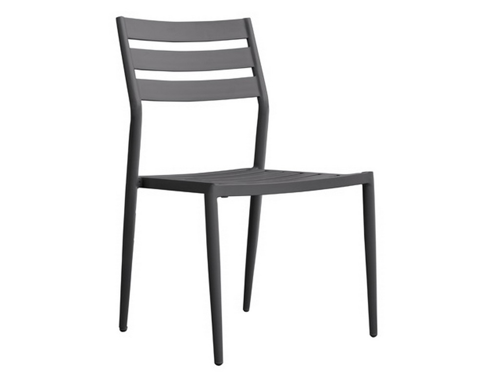 chaise de jardin empilable gabin aluminium gris anthracite