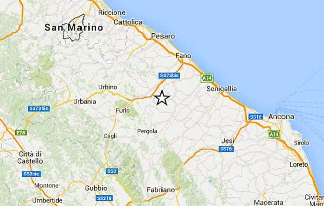 Scossa sismica nella provincia di Pesaro Urbino il 12 07 2016