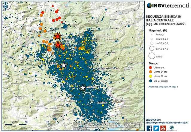 La sequenza sismica (terremoto) in Italia Centrale