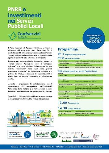 """Confservizi organizza il seminario """"PNRR e investimenti nei Servizi Pubblici Locali"""""""