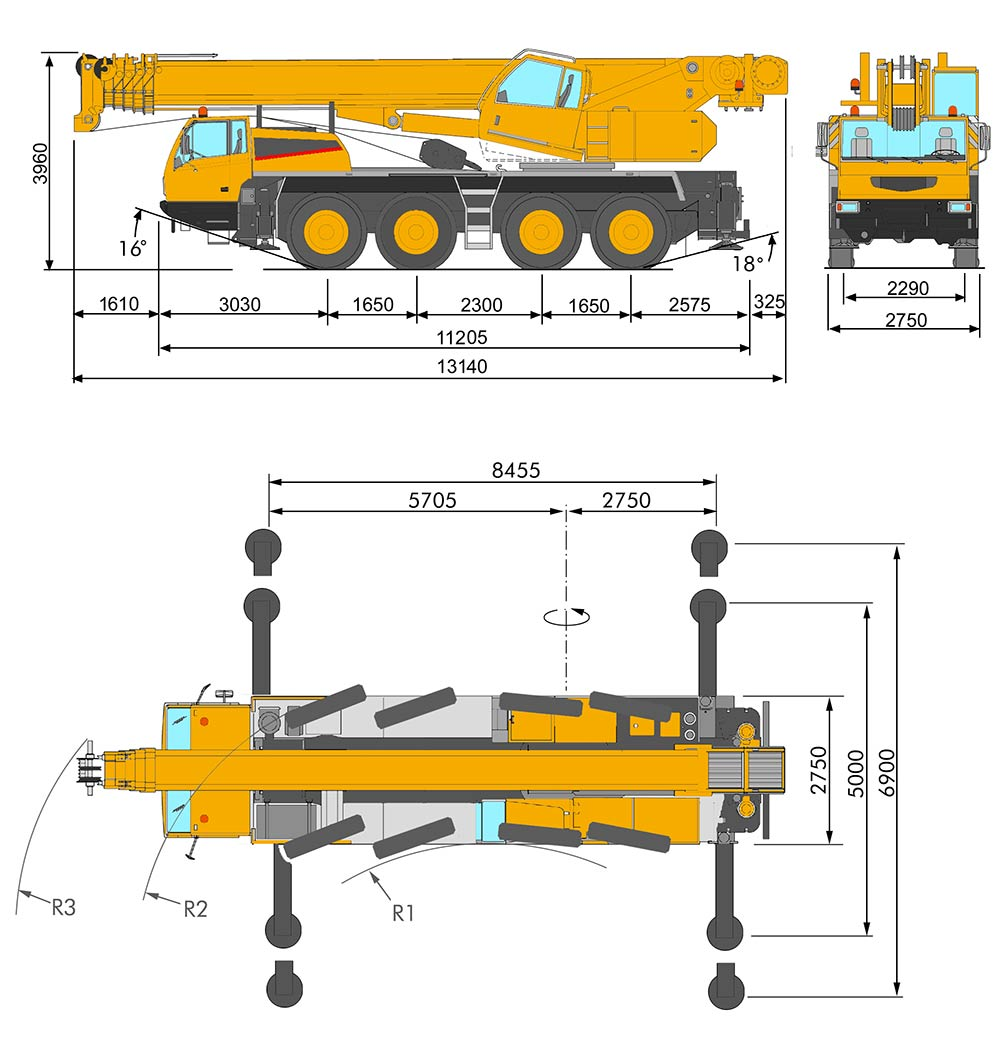 hight resolution of  mg 90 4 all terrain crane marchetti dimensions