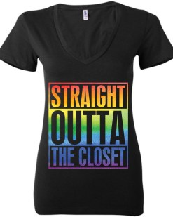 Straight Outta The Closet LGBTQ+ Ladies Deep V-Neck