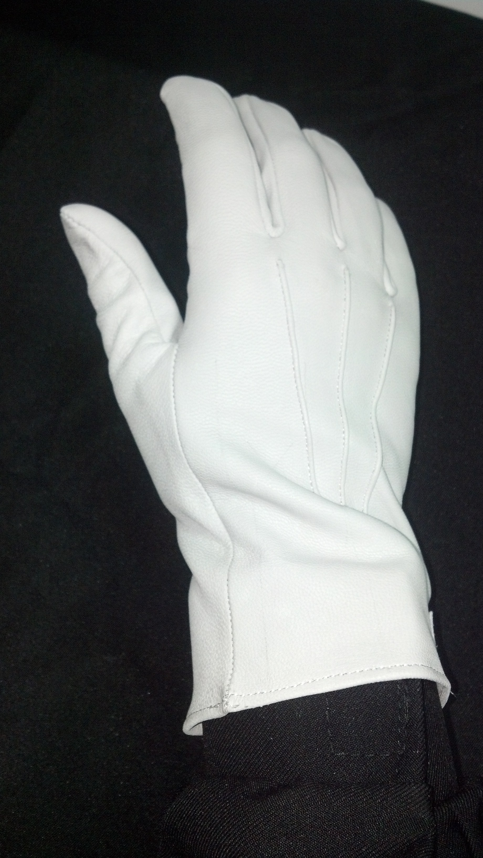 White Leather Gloves  Peacocks Marching World