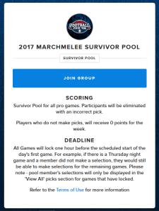 2017 MarchMelee Survivor Pool Invite Screenshot
