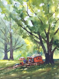 """Occupy Loose Park, 15"""" x 11"""" watercolor"""