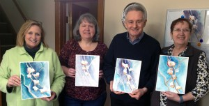February 22nd session at Wine & Watercolors. (L to R) Meg Bode, Cindy Whitson, Norberto Nicoletti, Marisabel Nicoletti