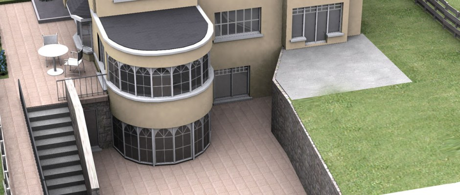 house with underground swimming pool, access to underground swimming pool from garden side of the house