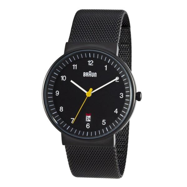 BN0032BKBKMHG Chique zwart herenhorloge met milanaise band