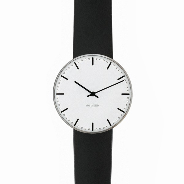 Arne Jacobsen - City Hall, 34 mm, witte wijzerplaat, zwarte band