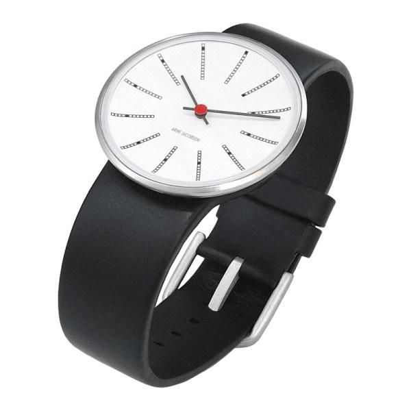 Arne Jacobsen - Bankers, 40 mm, witte wijzerplaat, zwarte band