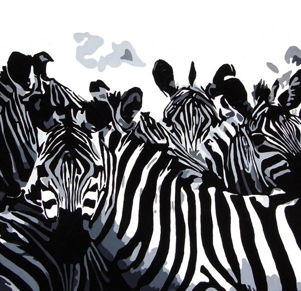 'Zebra's', 110 x 80 cm