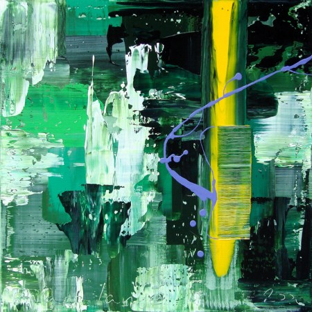 'Green, Yellow, Purple'', 50 x 50 cm
