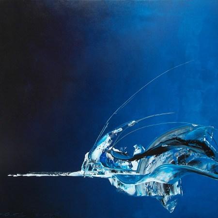 VERKOCHT! 'Flying in a blue dream', 200 x 180 cm